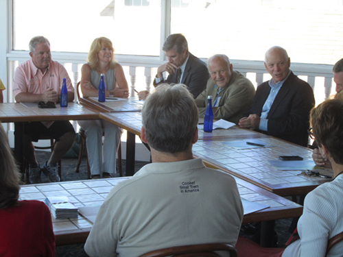 U.S. Senator Ben Cardin gathered at Harrison's HarborWatch yesterday with tourism officials. Photo by Travis Brown