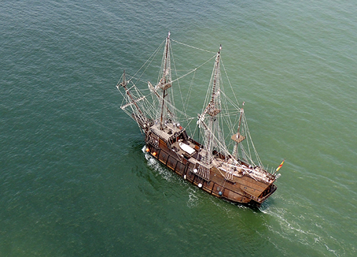 The El Galeon Andalucia is pictured entering Ocean City waters last month. Photo by Rally Rides/Howard Whaley