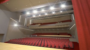 A rendering view from the stage of the new performing arts center is pictured. Rendering by Becker Morgan Group