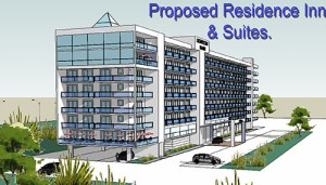 The proposed new hotel slated for the vacant property south of the Route 90 Bridge is pictured. Rendering by Robert Heron, President of Atlantic Planning Development & Design, Inc.