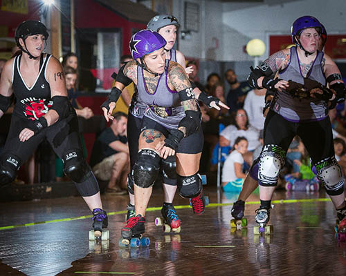 Members of the Salisbury Roller Girls are pictured recently competing against a team from Philadelphia. Photo by Jason Walter