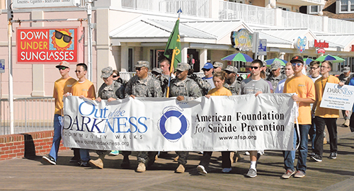 Some of the more than 500 participants in last month's 3rd Annual Out of the Darkness Walk are pictured heading south on the Boardwalk. Submitted Photo