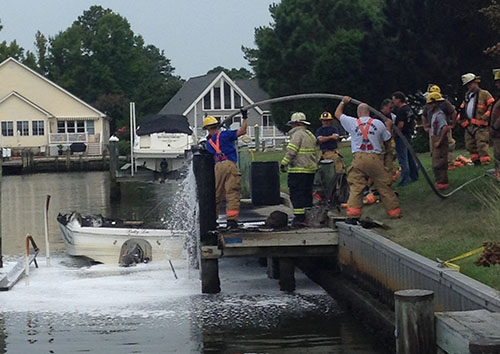 On the afternoon of Aug. 31, a boat docked in Ocean Pines caught fire and injured five individuals. Submitted Photo