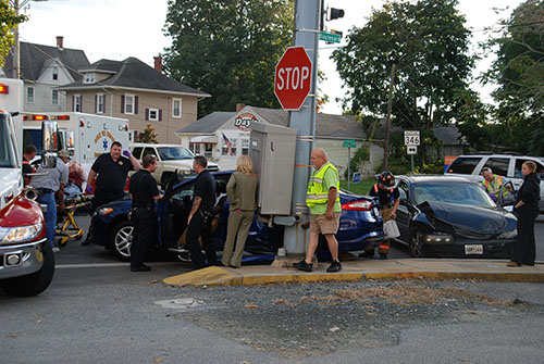 At least two people were injured and taken to the hospital after a two-car accident on the corner of N. Main Street and Old Ocean City Blvd. on Tuesday in Berlin. Photo by Shawn Soper