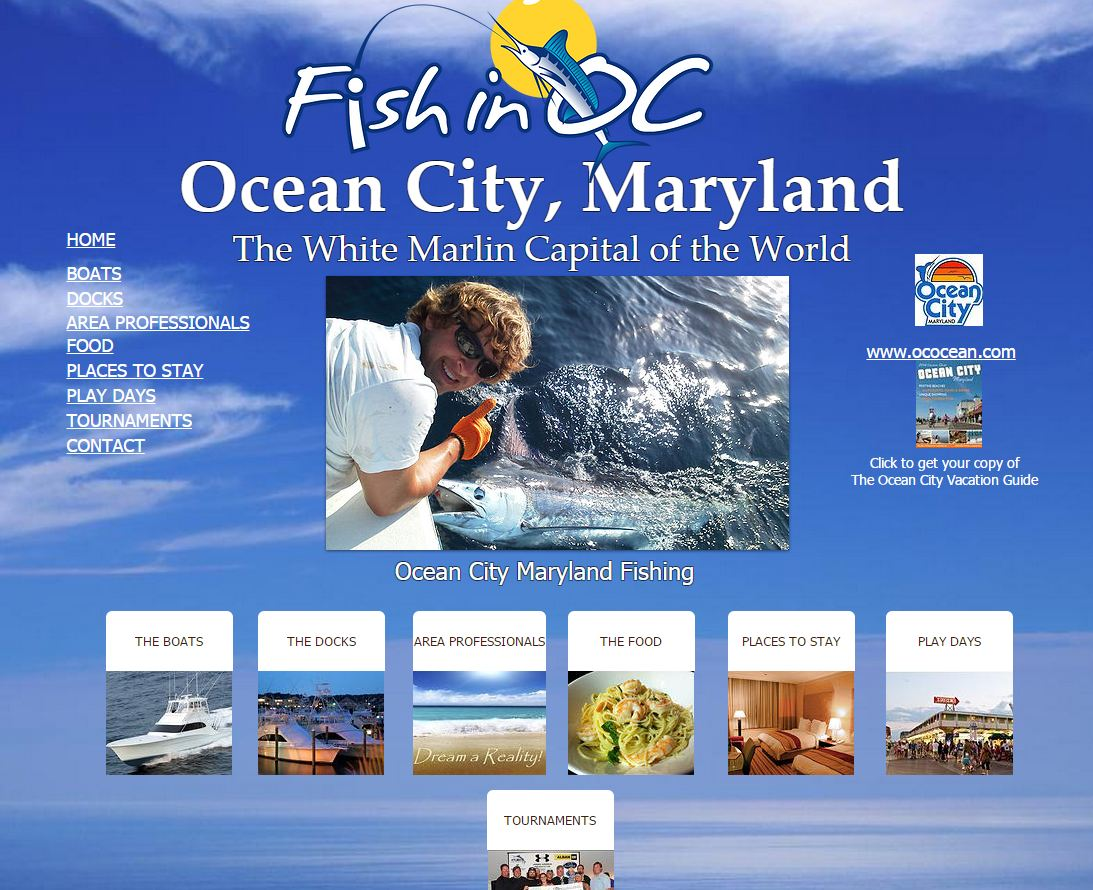 A new website, www.FishInOC.com, has been created to market the town's popular industry. Screenshort courtesy of D3Corp and Fish In OC, LLC