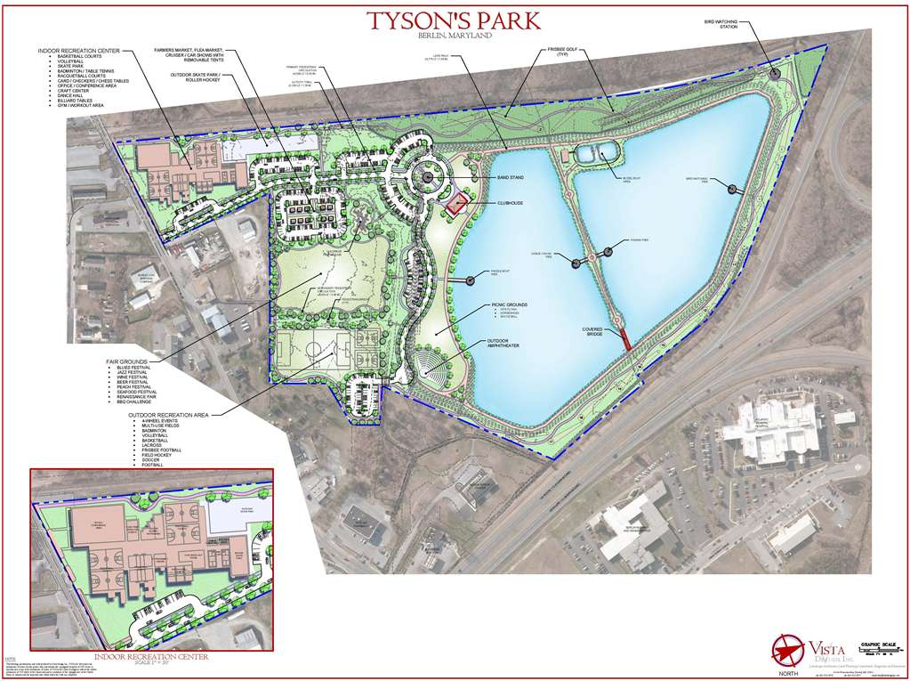 Earlier this year a hypothetical public park plan, featuring trails and indoor recreational facilities, among other aspects, for the Tyson property circulated in the Berlin community. Vista Design Inc.
