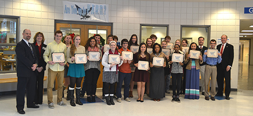 Thirty-six students, including these pictured, from Stephen Decatur High School received their certificate for completing the Ever Fi Financial Literacy program last Friday. The course is sponsored by the high school and Bank of Ocean City. Photo by Charlene Sharpe