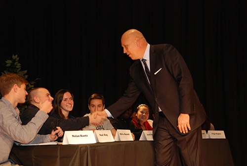 Orioles legend Cal Ripken Jr. meets Pocomoke High School students on Wednesday. Photo by Shawn Soper