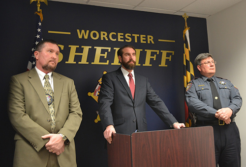 Pictured during yesterday's press conference announcing the results of the year-long investigation were WCBI Supervisor and Detective Sergeant Mike Lupiwok, WCBI Detective Corporal Alex Kagan and Worcester County Sheriff's Lieutenant Mike McDermott. Photo by Charlene Sharpe