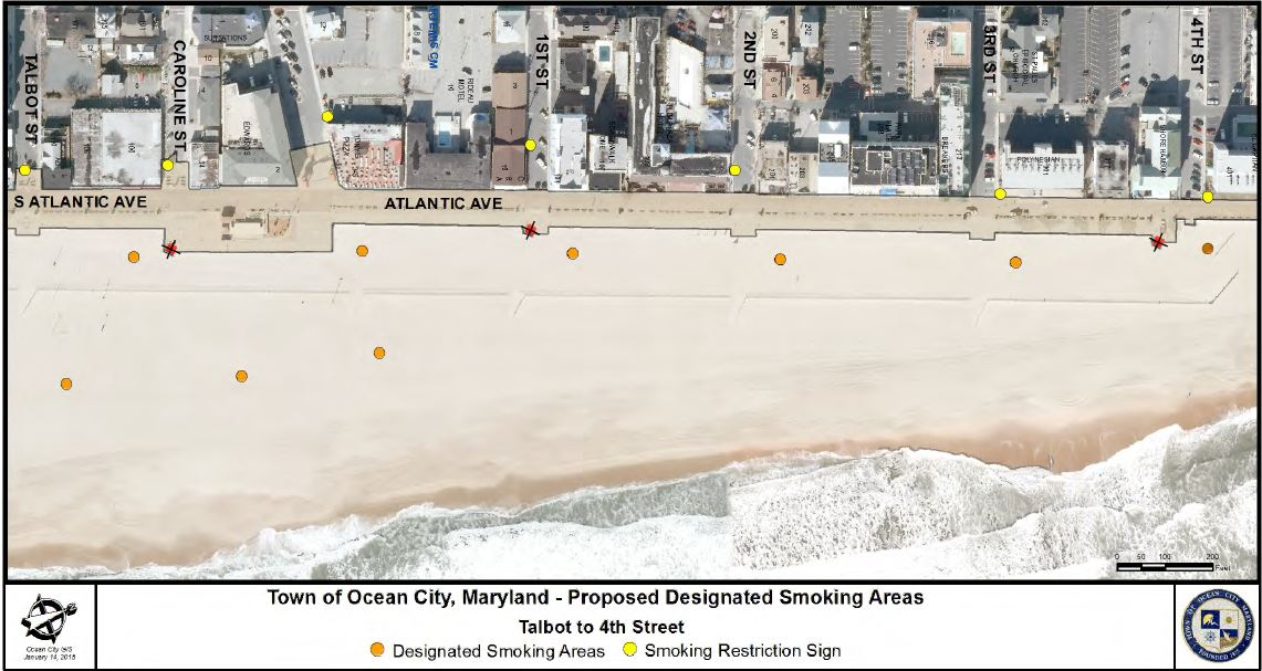 A map of proposed smoking locations along the beach are shown. It was decided this week the beach smoking stations will also be the options for the Boardwalk smokers as well.