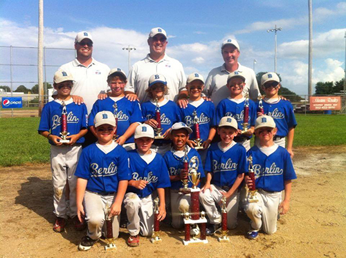 Craig Lynch, center, is pictured with Berlin Little League All-Star team last spring. File Photo