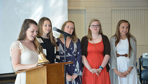 The Stephen Decatur High School Key Club hosted members of the Kiwanis Club for an annual breakfast on April 22. Above, Key Club Vice-President Jennah Lupiwok addresses Kiwanis Club members and other distinguished guests at the annual Key Club breakfast while officers Emily Cashman, Mallory Rolleston, Rebekah Nesbit, and Olivia Kurtz look on. During the ceremony, Club President Cashman recognized school liaison John Foreman for his service. Submitted Photos