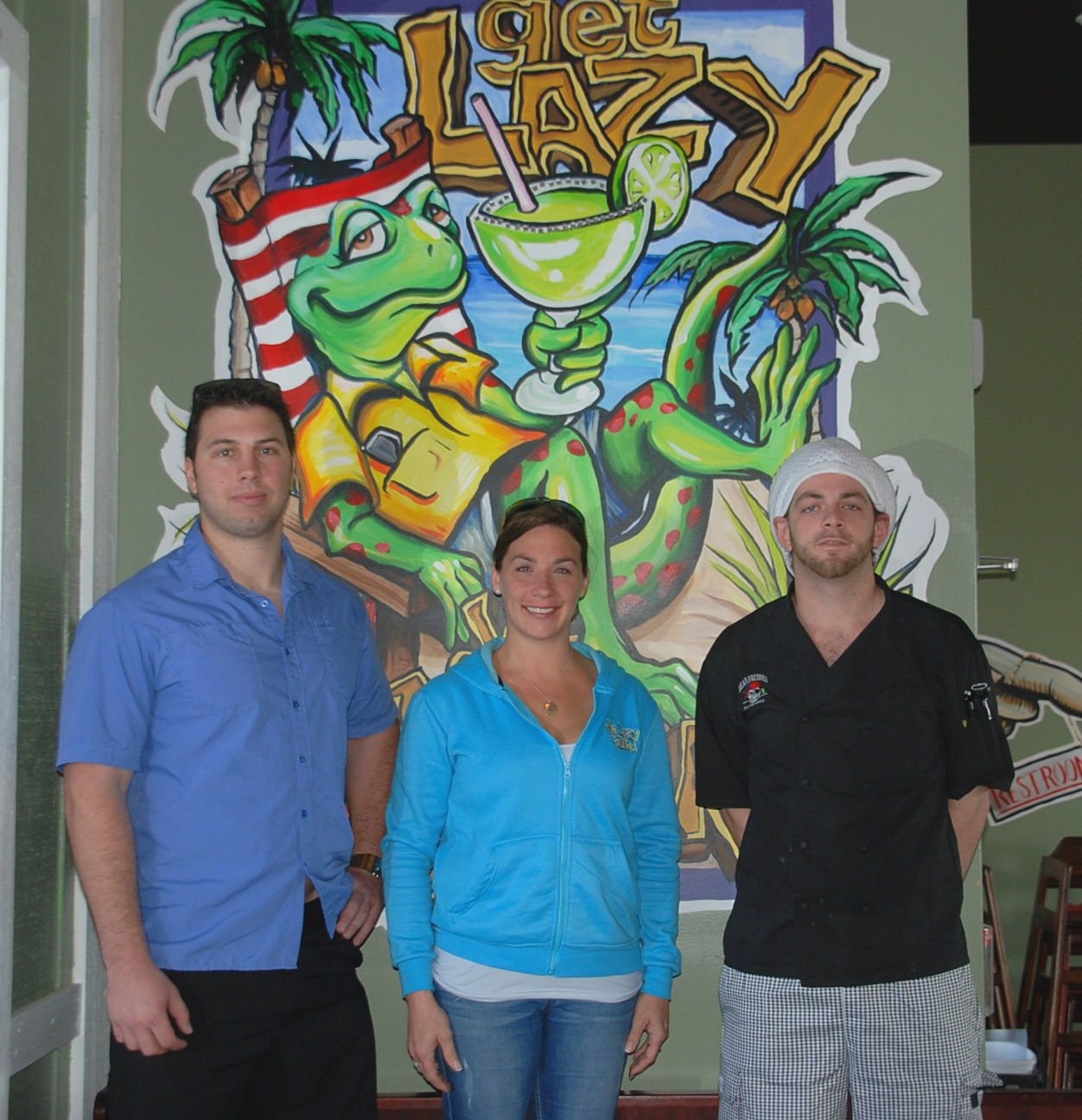 Among the new management team at de Lazy Lizard are, from left, General Managers Ben Vatayuk and Jen Robins and Executive Chef Mitch Cook. Photo by Shawn Soper