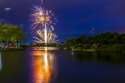 Last year's fireworks on Independence Day are pictured at Northside Park. Photo by Chris Parypa