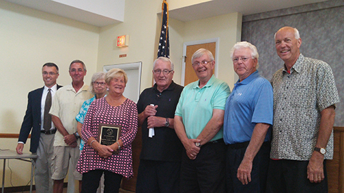 Pictured, from left, are Town Manager Merritt Burke, Councilman Bill Weistling, Councilwoman Diane Tingle, Mayor Audrey Serio, Vice Mayor Gene Langan, Secretary Gardner Bunting, Councilman Roy Williams and Councilman Richard Mais.