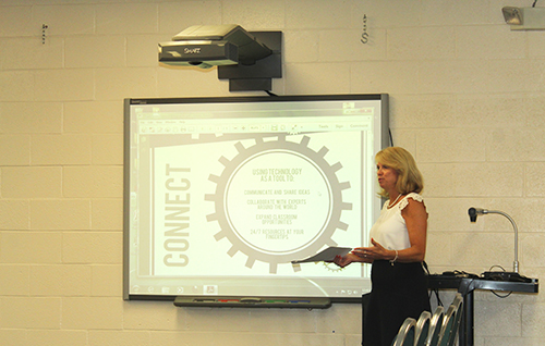 Worcester County Coordinator of Digital Learning and Instruction Diane Stulz provided the Worcester County Board of Education with an updated on the planned digital conversion this fall. Submitted Photo