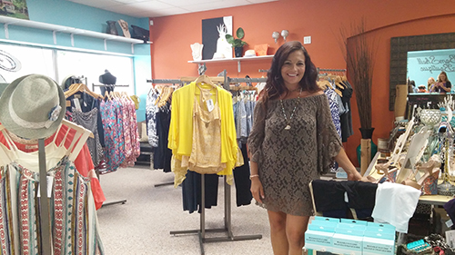 Bomshell Boutique Owner Gina March stands in her newest location on Route 50 in West Ocean City. Photos by Joanne Shriner