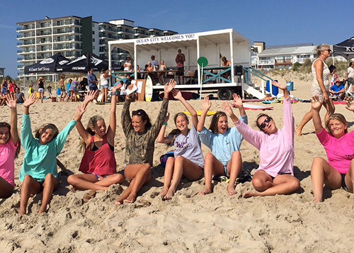 Some of the female participants in last weekend's K-Coast Gromfest Kids Surfing Festival are pictured taking a break in between heats. Submitted Photo