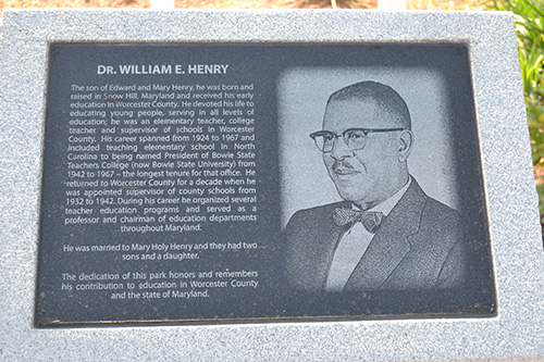 The monument recognizing Henry Park's namesake is located at the entrance to the public space. Photo by Charlene Sharpe