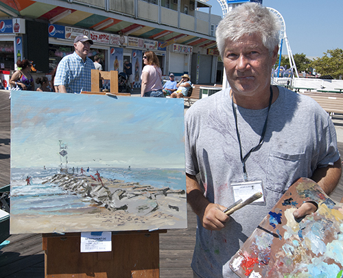 Plein air artist George Kalwa's account of the rescue that took place on Sunday was immediately put on canvas.