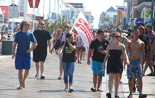 Flags supporting the effort to make the District of Columbia its own state were seen Wednesday on the Boardwalk and downtown beach in Ocean City. Photo by Shawn Soper
