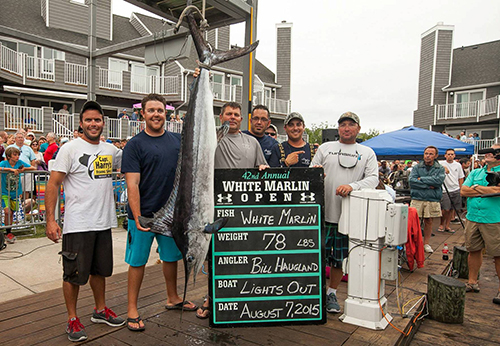 """This day five white marlin -- a 79 pounder -- was worth $1 million to the crew of the """"Lights Out"""" of Ocean Reef, Fla. Photo by Hooked On OC"""