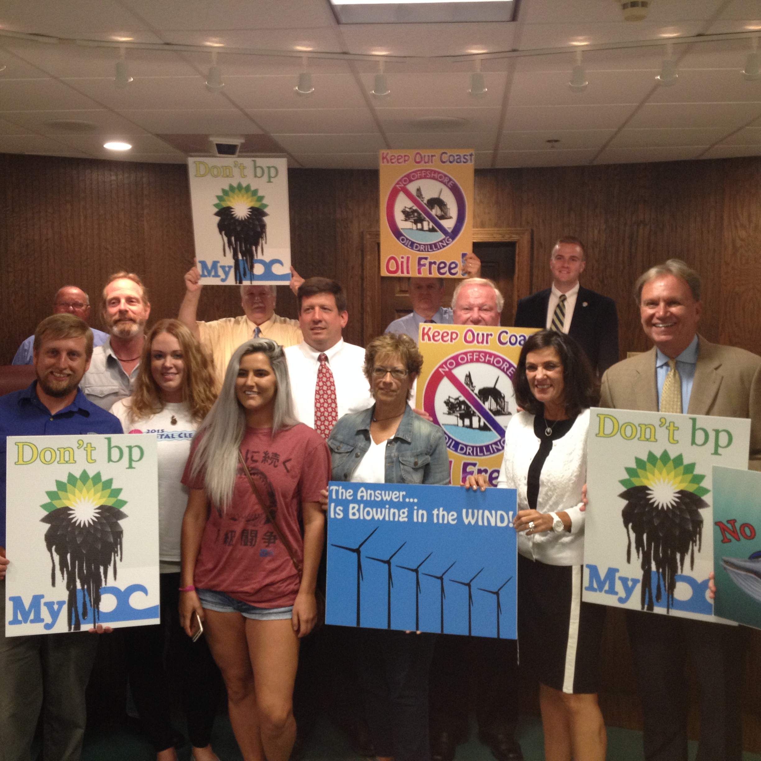 Ocean City Mayor and Council members are pictured with several representatives of environmental groups at City Hall Monday night. Photo by Shawn Soper