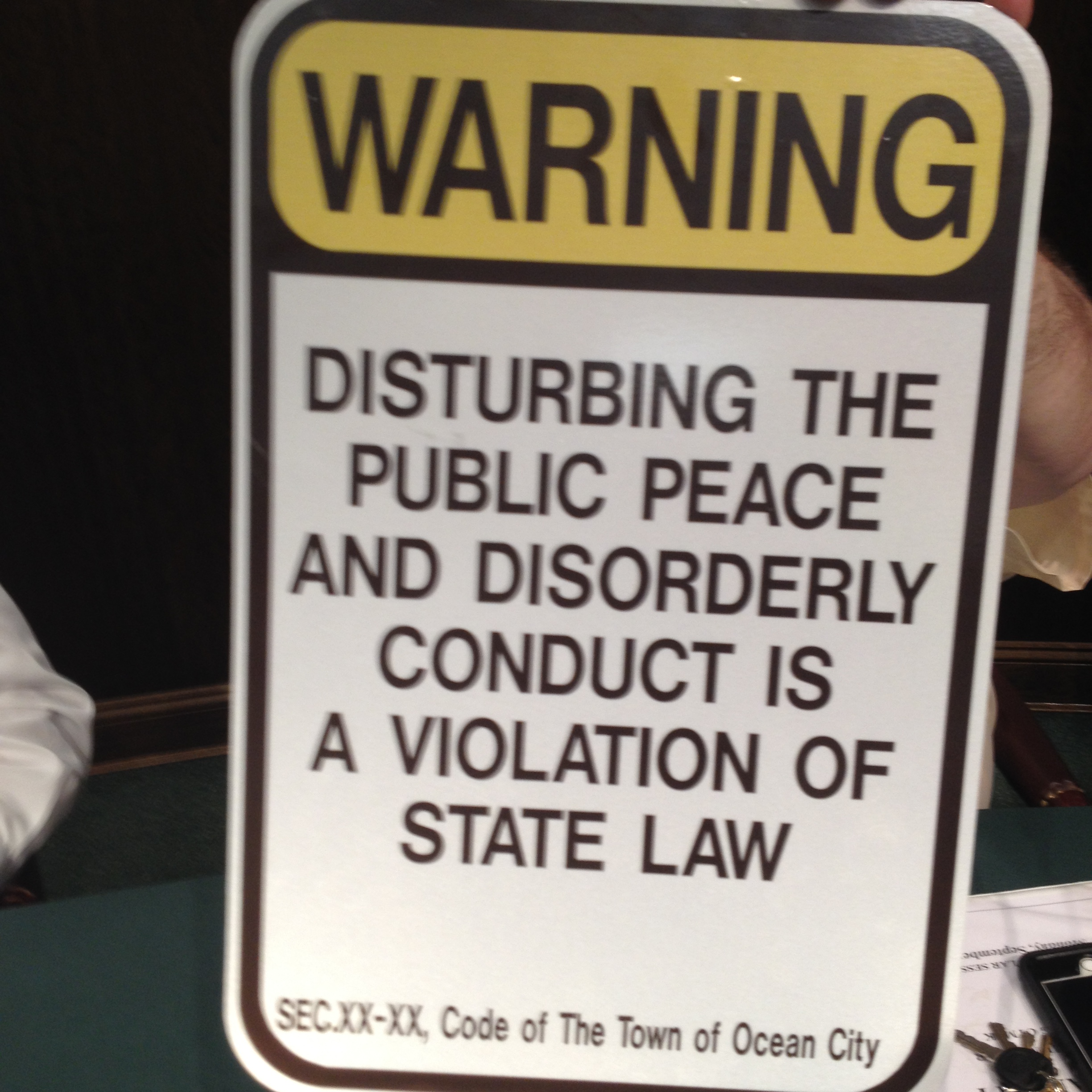 The signs approved this week will cost the city $7 to fabricate and overall cost about $5,000 to distribute to all required resort businesses. This sign was shown and approved by the Mayor and Council this week. Photo by Shawn Soper