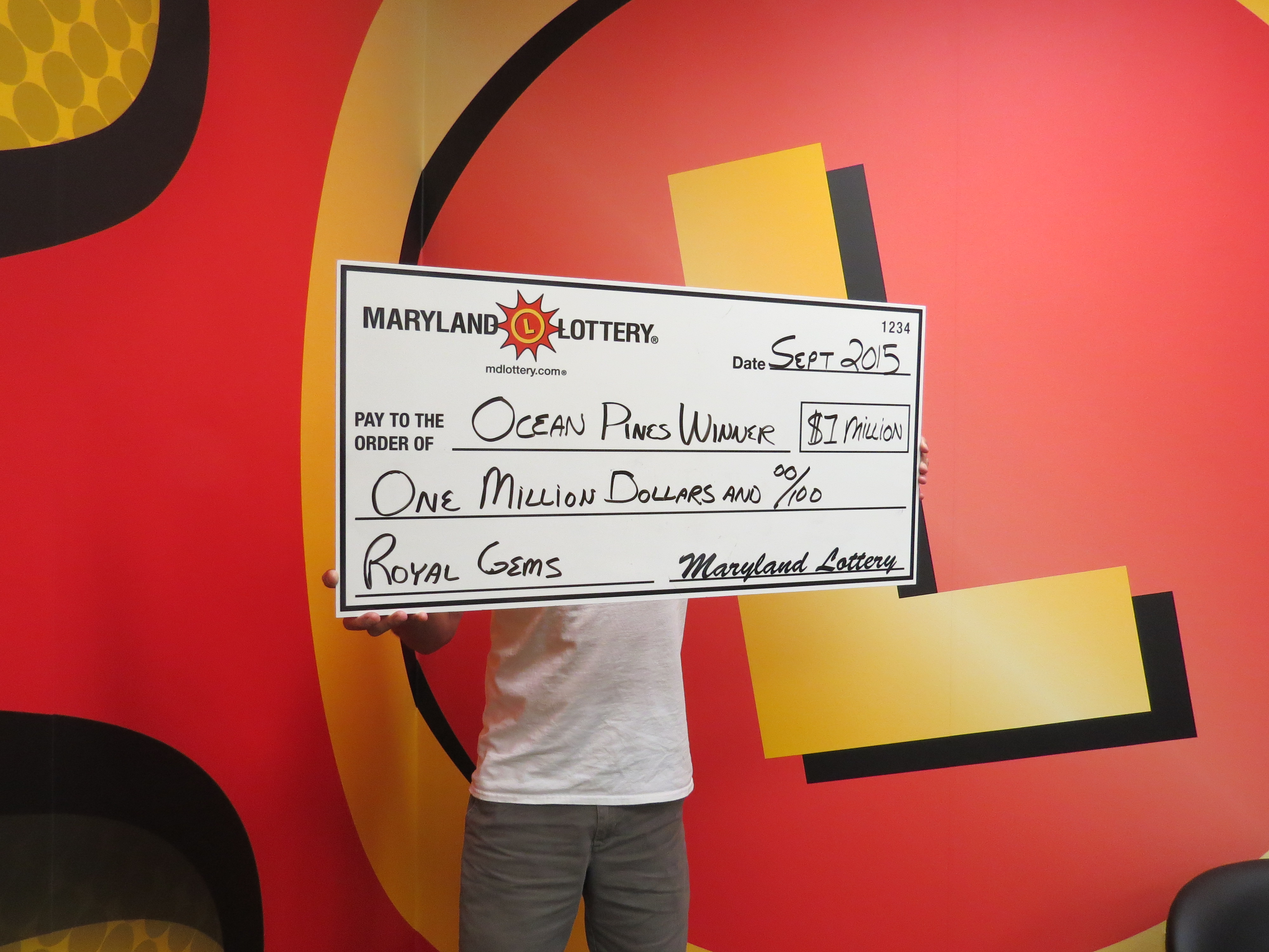 The unidentified Ocean Pines man capped off his 60th birthday week with a $1 million payday last Friday. Submitted Photo