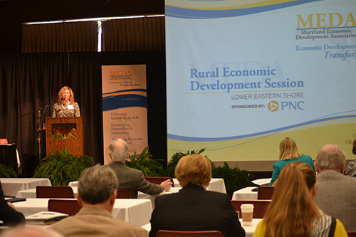 Worcester County Economic Development Director Merry Mears is pictured speaking at last week's Lower Eastern Shore Rural Economic Development Session. Photo by Charlene Sharpe