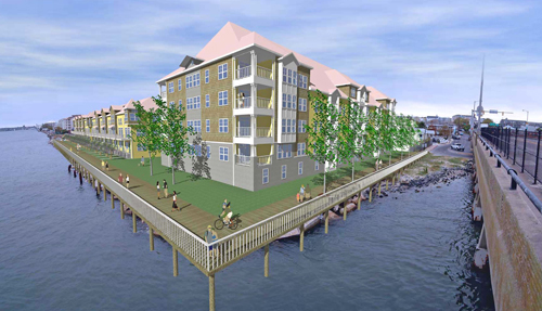 Redevelopment plans call for 40 condominiums in an attractive building along the south edge of the property adjacent to the bridge, with 54 townhomes arranged in several buildings on the balance of the property.