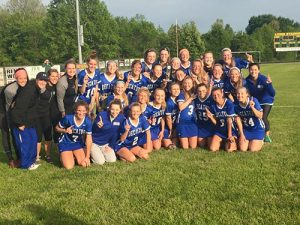 Stephen Decatur's girls' varsity lacrosse team beat Queen Anne's, 9-7, on Tuesday to claim the Bayside Championship. Pictured above, the Seahawks were all smiles as they showed off the championship hardware.  Submitted photo