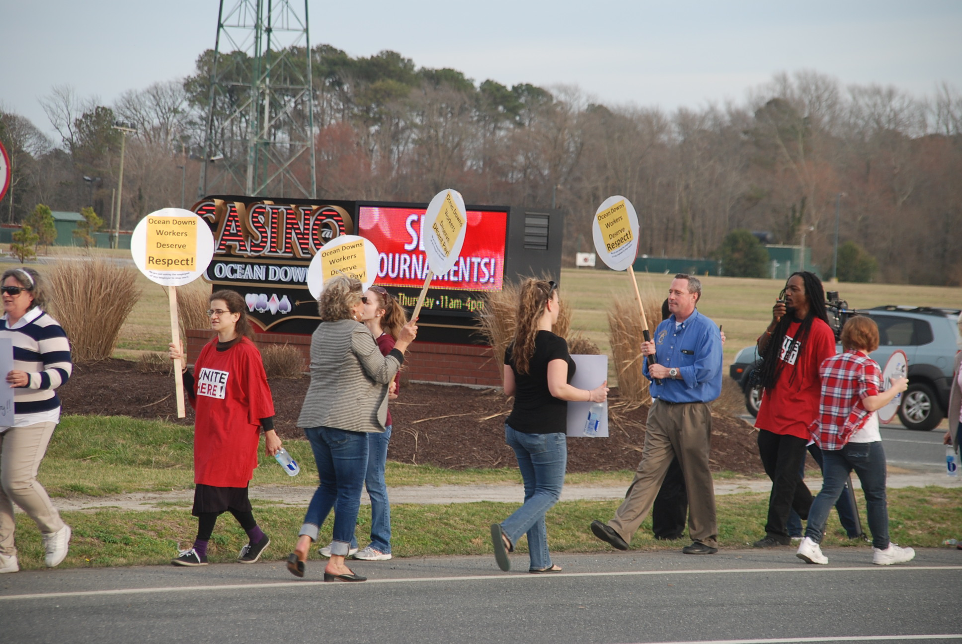 Casino at Ocean Downs employees are pictured over the winter picketing along Route 589. Photo by Shawn Soper