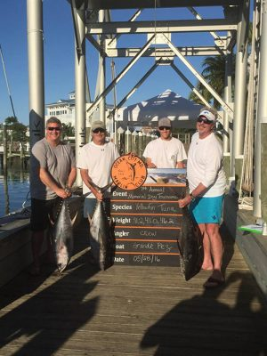 "The crew on the ""Grande Pez"" swept first and second place in the tuna division of the Marlin Club's 7th Annual Memorial Day tournament last weekend with a 46-pounder and a 43-pounder.  Submitted photo"