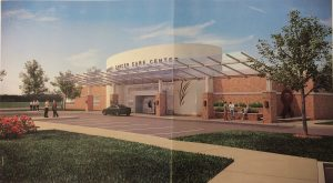 A front view of Atlantic General Hospital's proposed cancer center in front of the Berlin Nursing Home is pictured. Rendering by Vista Design, Inc.