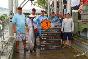 "The happy crew on the ""Brenda Lou"" took first place last weekend in the tuna division of the Ocean City Marlin Club's Canyon Kick-Off with this nice 125-pound yellowfin.  Photo courtesy Hooked on OC"
