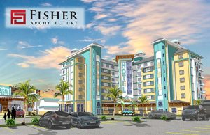 Pictured is a rendered view of the new hotel and accompanying restaurant. Rendering by Fisher Architecture