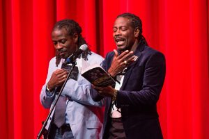The Twin Poets are shown taking part in a new-week program led by The Joshua M. Freeman Foundation. Submitted Photo