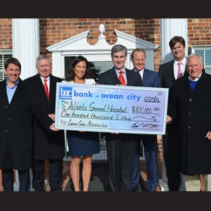 "Pictured at the recent check presentation were, from left, Todd Ferrante, chair of the Atlantic General Hospital Foundation; Hugh Cropper, IV, AGH Board of Trustees; Michelle Fager, co-chair of the Atlantic General Campaign for the Future; Michael Franklin, president and CEO, Atlantic General Hospital; Earl Conley, Vice President of Bank of Ocean City; Ried Tingle, President & CEO of Bank of Ocean City; and John H. ""Jack"" Burbage, Jr., co-chair of the Atlantic General Campaign for the Future."