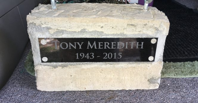 A memorial with Tony Meredith's name engraved on it was lowered off the coast to honor his passing last year. Submitted Photo