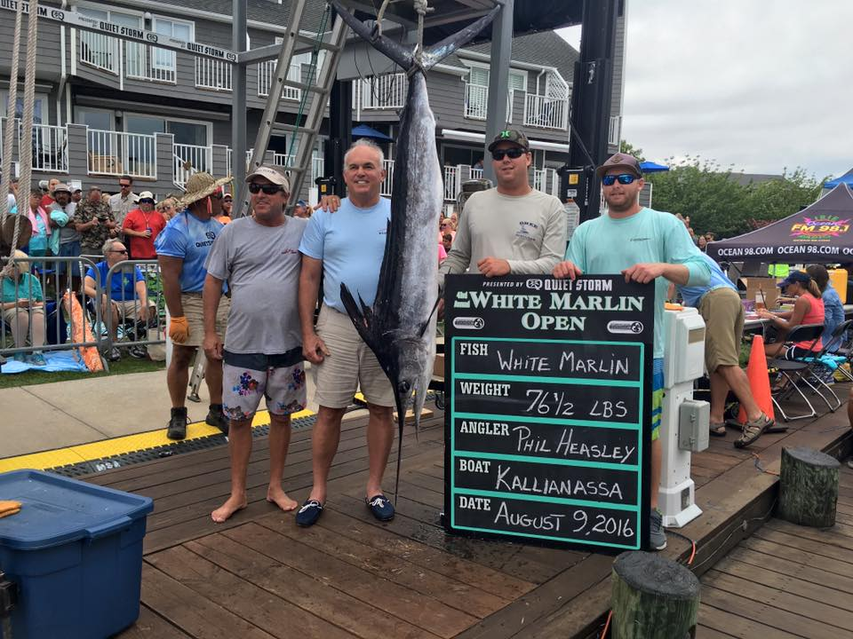 Angler Phillip Heasley and the crew on the Kallianassa out of Naples, Fla. are pictured with their 76.5-pound white marlin hooked Aug. 9. Photo by Hooked On OC