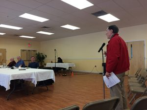 Ocean Pines resident Joe Reynolds makes a point during an Ocean Pines Association Board meeting Monday. Photo by Charlene Sharpe